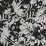 Black Tropical Silhouettes on Denim Black Cotton Jersey Knit Fabric