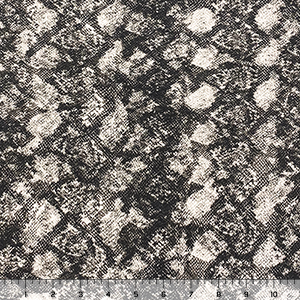 Grayscale Snakeskin on White Cotton Jersey Knit Fabric