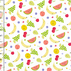 Happy Fruit On White Cotton Jersey Knit Fabric