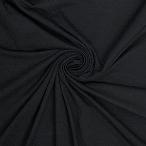 Black Solid Cotton Spandex Knit Fabric