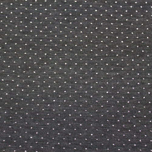 Silver Pin Dots on Charcoal Gray Cotton Lycra Knit Fabric