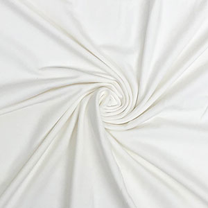 Off White Solid Cotton Spandex Knit Fabric