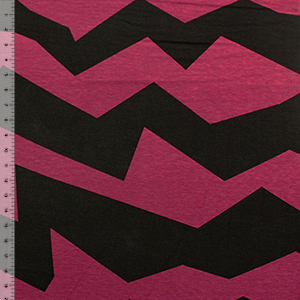 Maroon Black Big Broken Chevron Cotton Spandex Blend Knit Fabric
