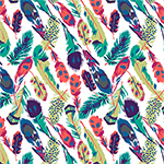 Original Feathers on White Cotton Jersey Blend Knit Fabric