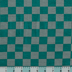 Teal Green Gray Check Modal Cotton Spandex Knit Fabric