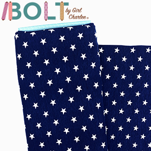10 Yard Bolt White Stars on Blue Cotton Spandex Knit Fabric