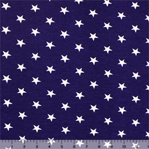 White Stars on Blue Cotton Spandex Knit Fabric