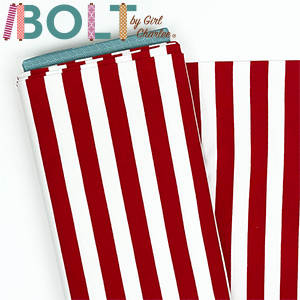 10 Yard Bolt Red and White Stripe Cotton Spandex Knit Fabric