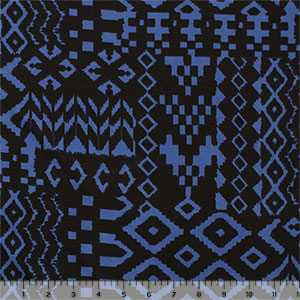 Black Blue Arrows Eye Ethnic Cotton Spandex Knit Fabric
