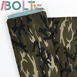 10 Yard Bolt Green Brown Camo Cotton Spandex Knit Fabric