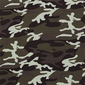 Green Brown Camo Cotton Spandex Knit Fabric