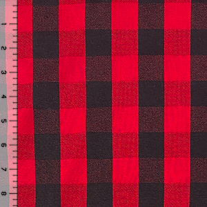 Black Red Buffalo Plaid Cotton Spandex Knit Fabric