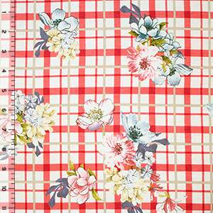 Floral Bouquets on Coral Red Plaid Cotton Spandex Blend Knit Fabric
