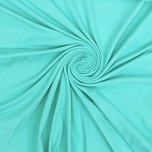 Aqua Blue Green Solid Cotton Spandex Knit Fabric