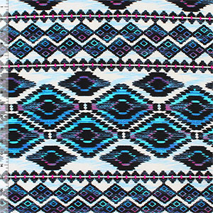 Purple Turquoise Ethnic Diamonds Cotton Spandex Blend Knit Fabric