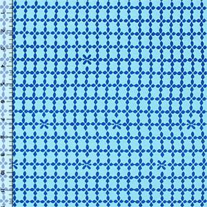 Blue Petal Squares on Blue Cotton Spandex Blend Knit Fabric