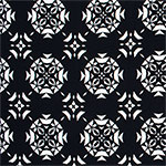 White Triangle Emblems on Black Cotton Spandex Knit Fabric