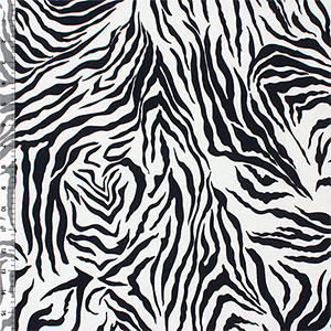 Half Yard Black Zebra Stripes Cotton Spandex Knit Fabric
