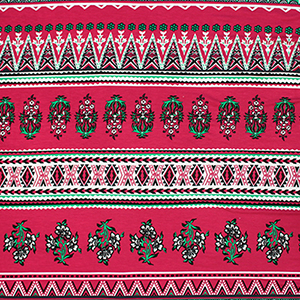Red Green Baroque Floral Cotton Spandex Blend Knit Fabric