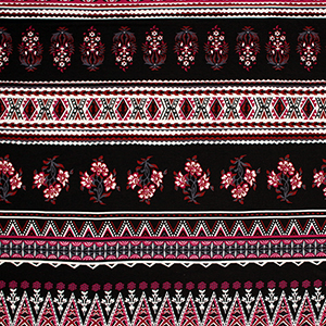 Magenta Black Baroque Floral Cotton Spandex Blend Knit Fabric