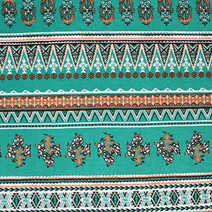 Emerald Coral Baroque Floral Cotton Spandex Blend Knit Fabric