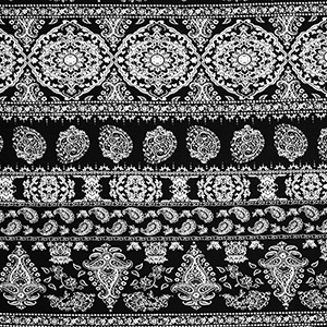 Black Ivory Paisley Floral Rows Cotton Spandex Blend Knit Fabric