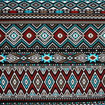 Red Turquoise Aztec Stripe Cotton Spandex Knit Fabric