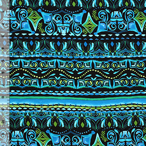 Blue Green Mayan Ethnic Cotton Spandex Knit Fabric