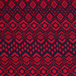 Red Navy Squares Ethnic Cotton Spandex Blend Knit Fabric