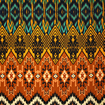 Mustard Teal Emblem Ethnic Cotton Spandex Blend Knit Fabric