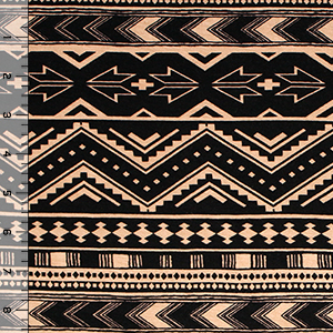 Taupe Black Arrow Ethnic Cotton Spandex Blend Knit Fabric