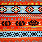 Sky Blue Orange Navajo Ethnic Rows Cotton Spandex Knit Fabric