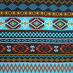 Red Orange Turquoise Navajo Ethnic Rows Cotton Spandex Knit Fabric