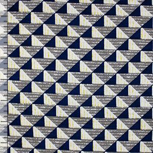 Half Yard Navy Blue Gray Mod Triangles Cotton Spandex Blend Knit Fabric