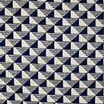Navy Blue Gray Mod Triangles Cotton Spandex Blend Knit Fabric