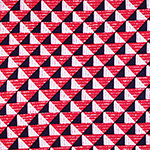 Red Magenta Pink Mod Triangles Cotton Spandex Blend Knit Fabric