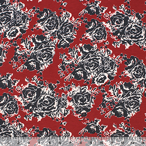 Blue Gray Roses on Red Cotton Spandex Knit Fabric