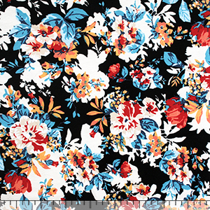 Floral Silhouette Red Black Cotton Spandex Knit Fabric