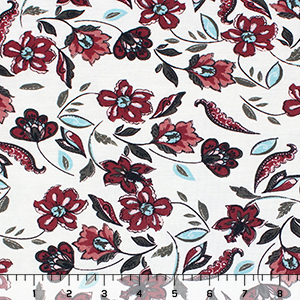 Burgundy Tossed Floral Cotton Spandex Blend Knit Fabric