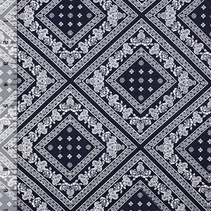 Half Yard Navy Bandana Diamond Cotton Spandex Blend Knit Fabric