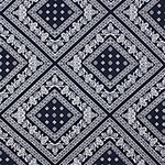 Navy Bandana Diamond Cotton Spandex Blend Knit Fabric
