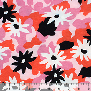Black White Abstract Floral on Pink Cotton Spandex Blend Knit Fabric