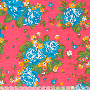 Teal Blue Rose Bouquets on Hot Coral Cotton Spandex Blend Knit Fabric