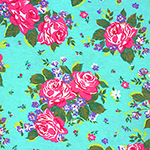 Fuchsia Pink Rose Bouquets on Aqua Blue Cotton Spandex Blend Knit Fabric