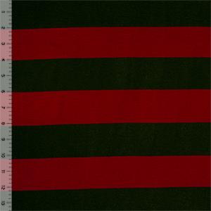 Half Yard Red Black Wide Stripe Cotton Spandex Blend Knit Fabric