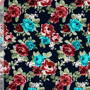 Teal Blue Mauve Roses on Navy Blue Cotton Spandex Blend Knit Fabric