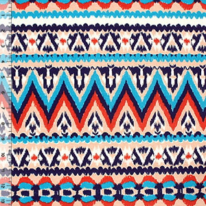 Peach Blue Ikat Ethnic Bamboo Spandex Blend Knit Fabric