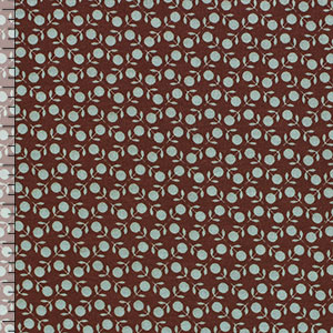 Aqua Small Retro Flower on Brown Modal Spandex Blend Knit Fabric