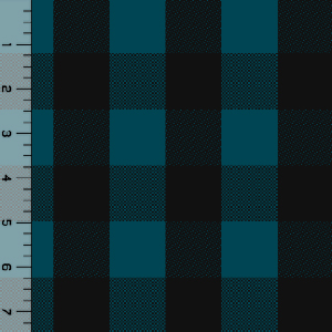 Black Teal Blue Buffalo Plaid Cotton Spandex Knit Fabric