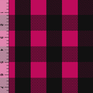 Black Fuchsia Buffalo Plaid Cotton Spandex Knit Fabric